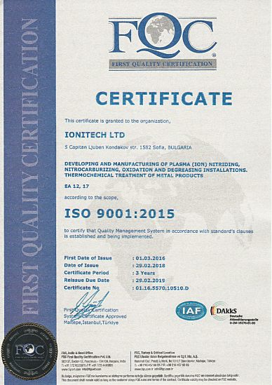 ISO 9001:2015 Certificate for quality - Ionitech